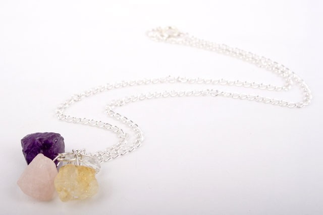 Amethyst Rose Quartz Nugget Necklace