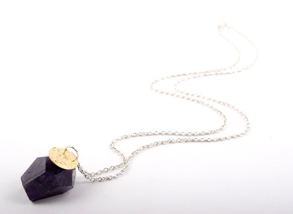 Large Amethyst Nugget Gold Coin Necklace