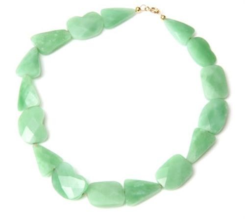 Faceted Green Quartz Apple Sour Nugget Necklace