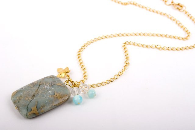 Aqua Jasper Crystal Drop Necklace