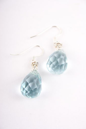 Aqua Quartz Teardrop Earrings