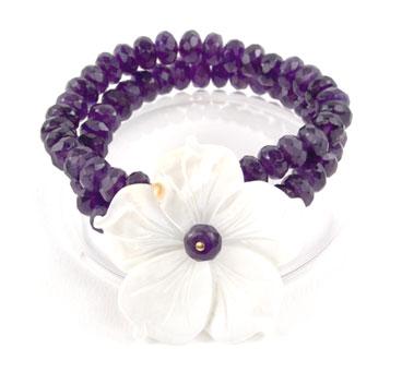 Amethyst River Shell Flower Bracelet