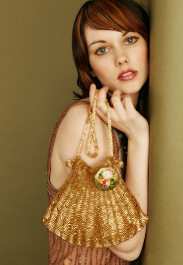 Angel Jackson Vintage Style Gold Crochet Bag with Vintage Style Brooche