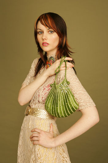 Angel Jackson Vintage Green Crochet Bag with Vintage Style Brooch