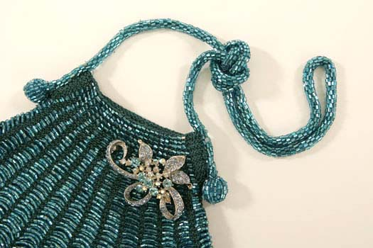 Angel Jackson Vintage  Stye Turquoise Crochet Bag with Vintage Style Brooche