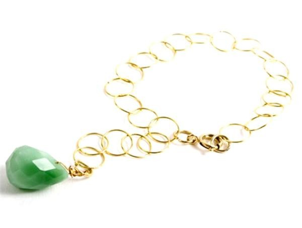 Green Chalcedony Apple Drop Bracelet
