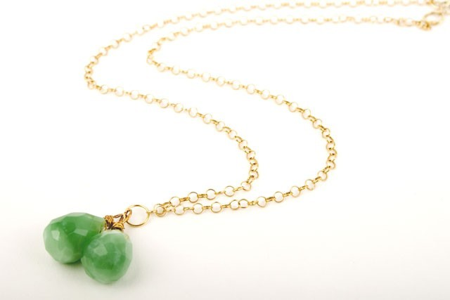 Apple Sour Green Chalcedony Gem Drop Necklace