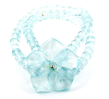 Faceted Aqua Quartz Flower Bracelet