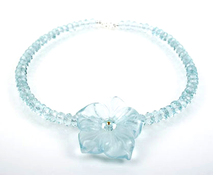 Faceted Aqua Quartz Flower Necklace