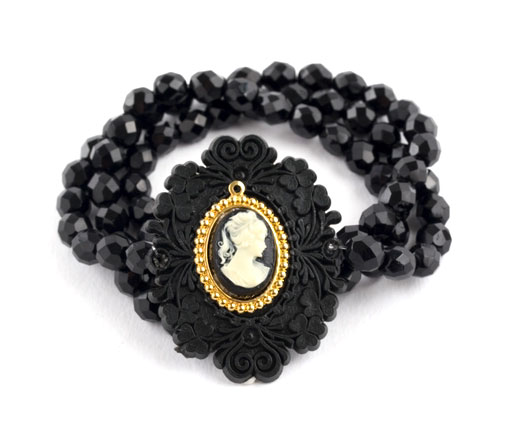 Vintage Black Cameo and Crystal Bracelet