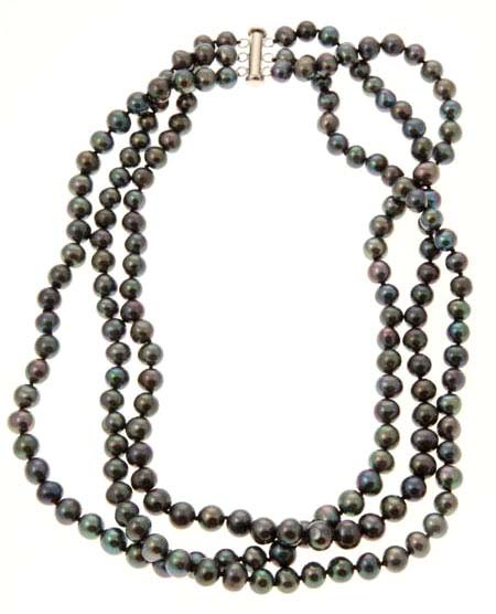 Black Cultured Triple Strand Pearl Necklace