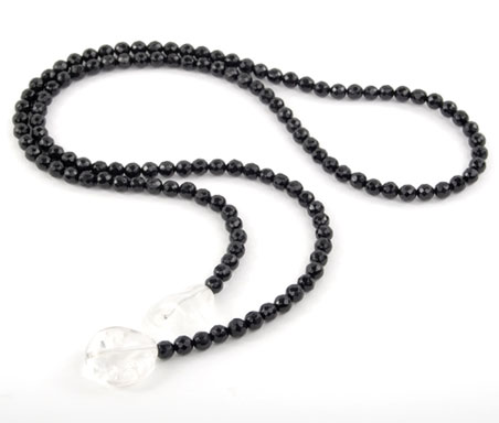 Faceted Black Oynx and Crystal Lariat Necklace