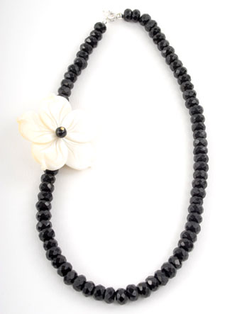 Faceted Black Oynx and Rivershell Flower Necklace