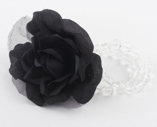 Black Silk Corsage Flower Bracelet