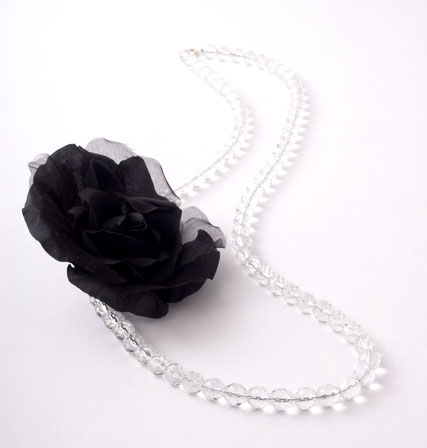 Black Silk Corsage Flower Necklace