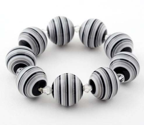 Black and White Candy Striped Bracelet