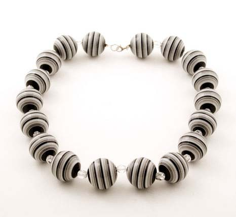 Black and White Candy Striped Necklace