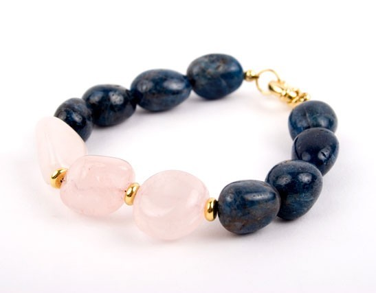 Rose Quartz Dumorierite Blueberry Nugget Bracelet