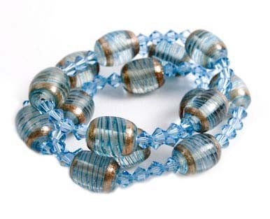 Glass Bead and Crystal Caramel Taffy Bracelets