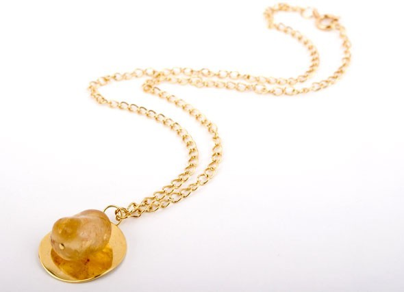 Citrine Gold Disc Necklace