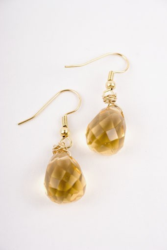 Citrine and Gold Teardrop Earrings