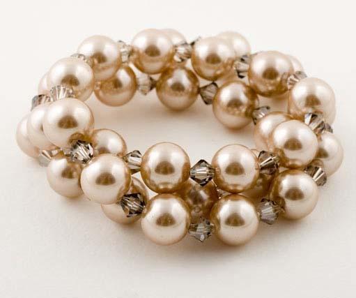 Cararmal Crystal Pearl Triple Wrap Bracelet