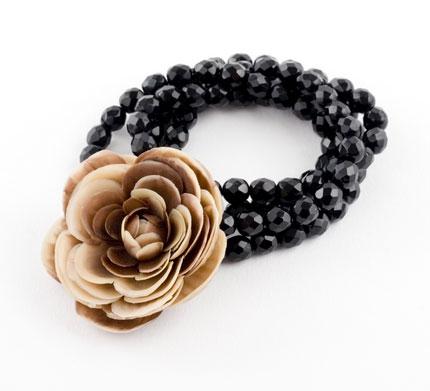 Caramel Vintage Rose Corsage Bracelet