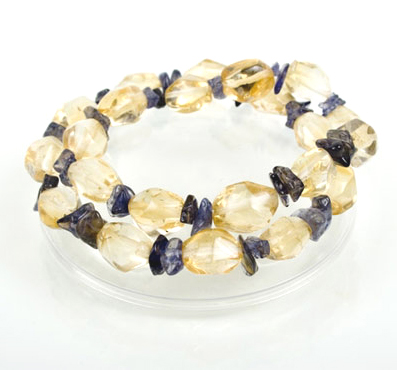 Faceted Citrine Nugget and Amethyst Bracelets