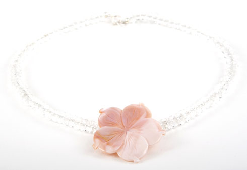 Crystal and Pink Rivershell Flower Necklace