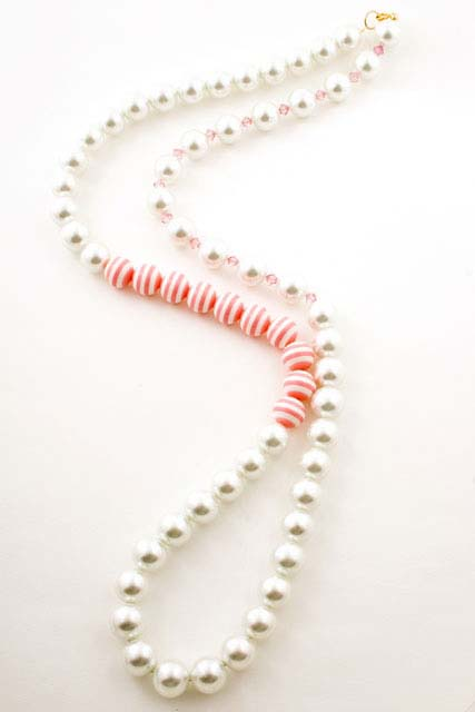 Crystal Pearl Pink Stripe Necklace
