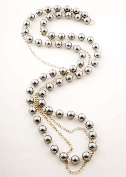Long Crystal Pearl Chain Necklace
