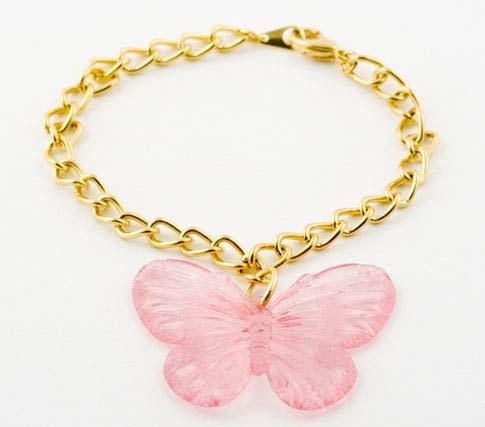 Pink Butterfly Charm Bracelet