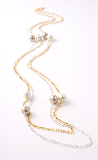 Gold and Silver Crystal Pearl Chain Necklace