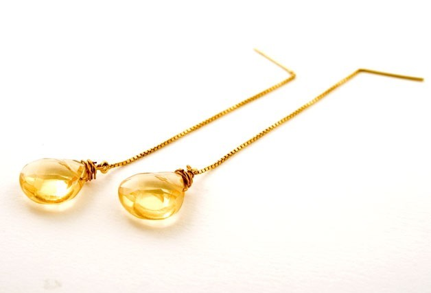 Citrine Golden Syrup Gem Drop Earrings