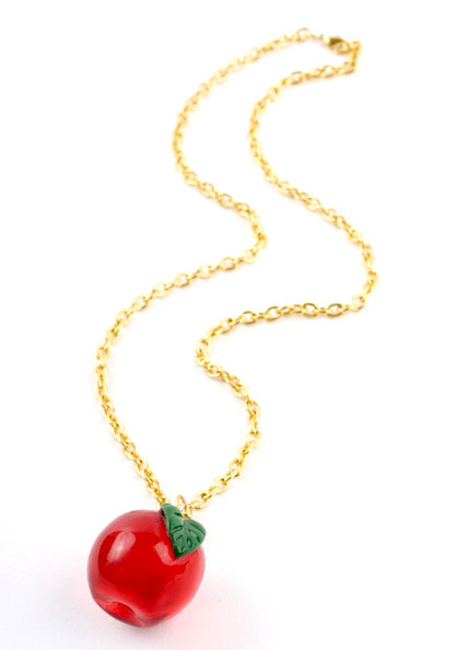 Huge Red Apple Pendant Necklace