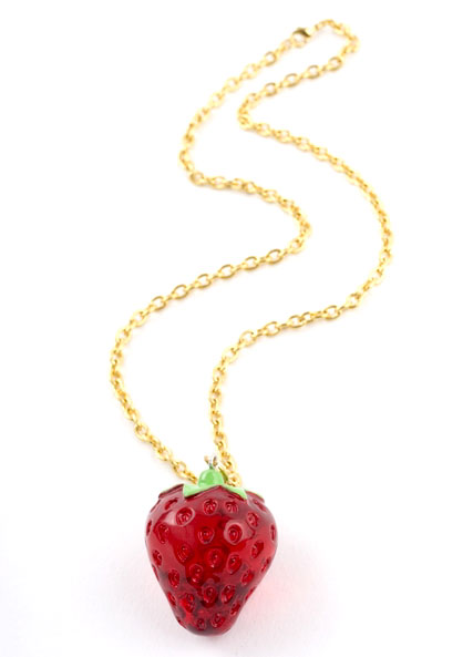 Huge Red Strawberry Pendant