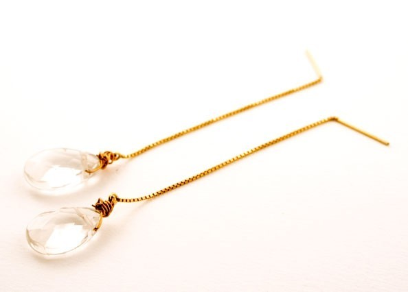 Crystal Quartz Ice Mint Gem Drop Earrings