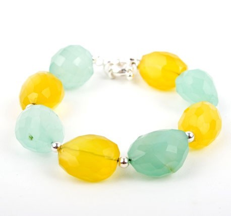 Faceted Chalcedony Lemon Mint Drop Bracelet
