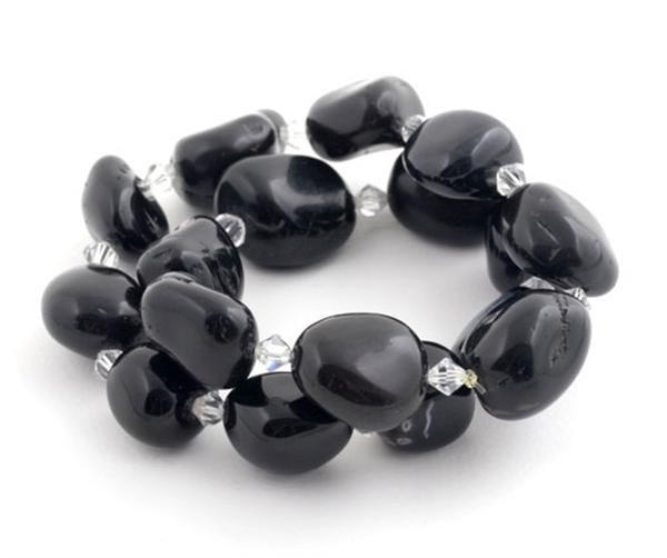 Black Agate Liquorice Double Wrap Bracelet