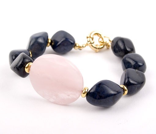 Rose Quartz and Agate Liquorice Nugget Bracelet