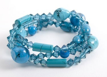 Glass and Crystal Mint Jawbreaker Bracelet