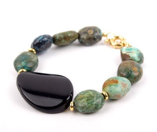 Agate and African Turquoise Mint Pebble Bracelet