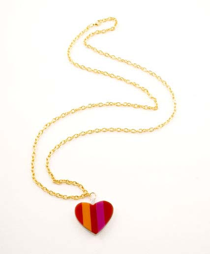 Neopolitian Heart Charm Necklace