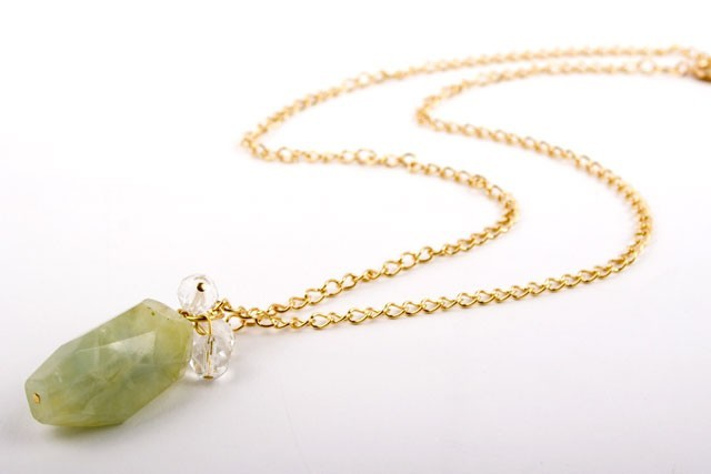 Prehnite Faceted Nugget Necklace