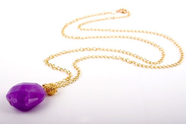 Faceted Hot Purple Chalcedony Necklace