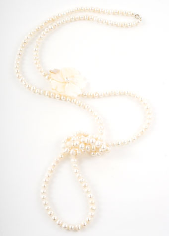 Pearl and Rivershell Flower Opera Length Necklace