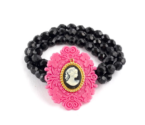 Vintage Pink Cameo and Crystal Bracelet