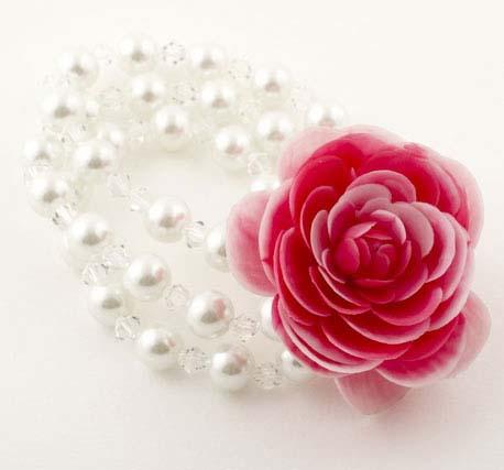 Deep Pink Vintage Rose Corsage Pearl Bracelet