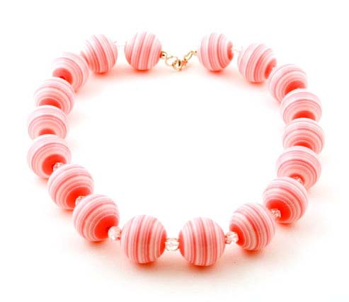 Pink and White Candy Striped Necklace
