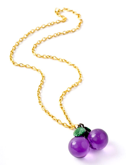 Purple Cherry Charm Necklace